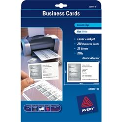 AVERY C32011 BUSINESS CARDS 10 UP PK/25