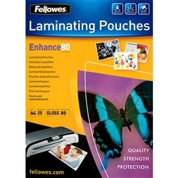 LAMINATING POUCH FELLOWES A4 80MIC PK25