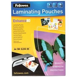 FELLOWES LAMINATING POUCHES A4 80 PK100