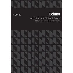 COLLINS DEPOSIT BOOK ANY BANK A4/50DL