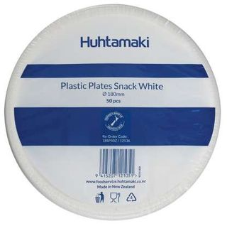 DISPOSABLE PLASTIC SIDE PLATES WHITE 180