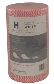 CLEANING CLOTH HARVEYS RED 90 SHT/ROLL