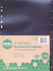 DIVIDERS MARBIG A4 10 TAB BLACK RECYCLED