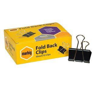 FOLDBACK CLIPS MARBIG 50MM BOX/12