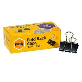 FOLDBACK CLIPS MARBIG 32MM BOX/12