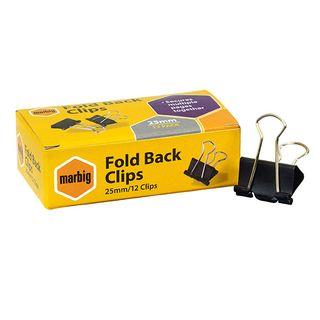 FOLDBACK CLIPS MARBIG 25MM BOX/12