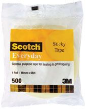 SCOTCH TAPE EVERYDAY CLEAR 18 X 66M