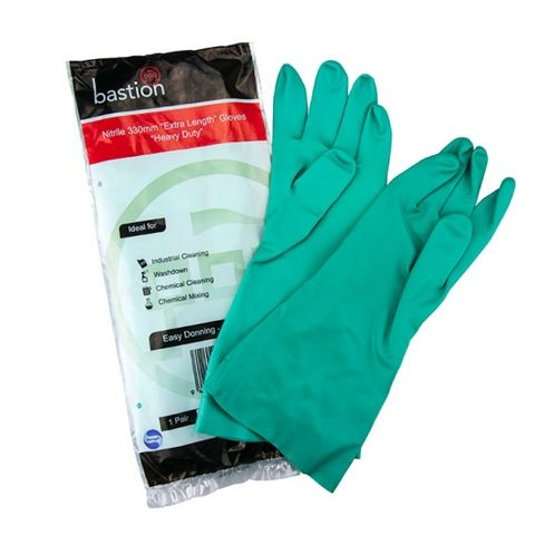 Bastion Nitrile Extra Length Heavy Duty Gloves Med  300mm Cuff