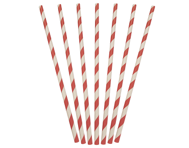 Straw Regular Red/White Stripe Paper 250pk