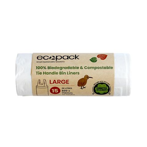 Ecopack Compostable Bin Liners 36L 15 Bags / Roll