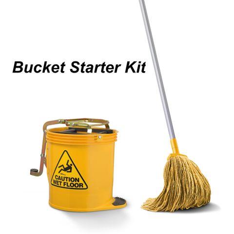 Starter Kit - Bucket / Handle / Mop (Yellow)