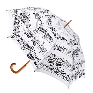 Black Music Notes on White Fabric
