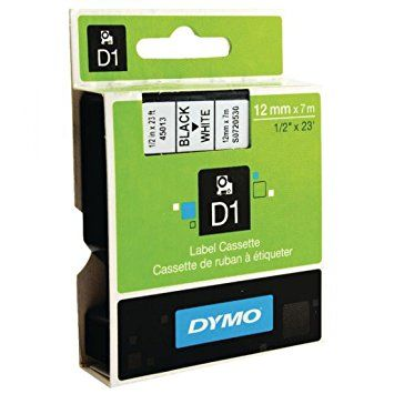 DYMO D1 LABEL TAPE 12X7M BLACK ON WHITE