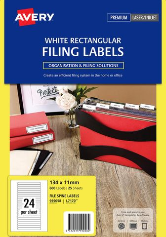 AVERY FILE SPINE LABEL WHITE 24/SH L7170 134X11MM  INKJET/LASER PK25