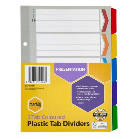 DIVIDERS 5 TAB A5 COLOUR REINFORCED MARBIG