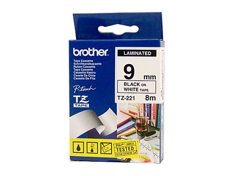 DYN-TZE221 TZE221 BROTHER 9MM BLACK TEXT ON WHITE TAPE - 8 METRES- CQS15