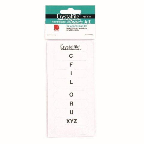 CRYSTALFILE TAB INSERTS AZ WHT 60PK  (NEW STYLE)
