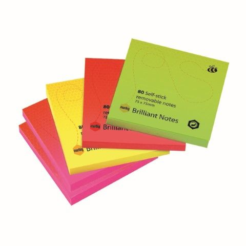 BRILLIANT 75X75MM ASSORTED STICKY NOTES PK5-cqs15 - 9312311181066