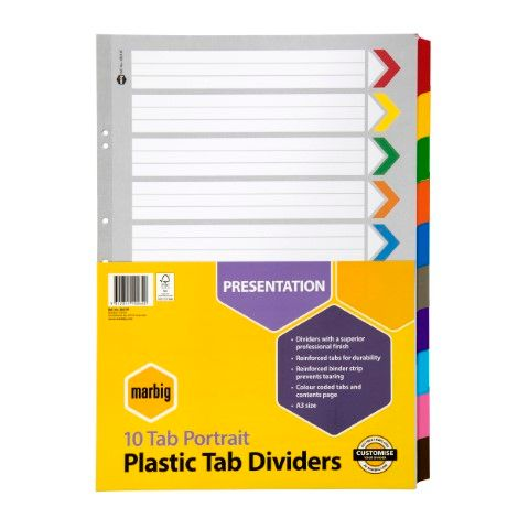 MARBIG MANILLA DIVIDERS REINFORCED 10 TAB A3 PORTRAIT - 9312311192642
