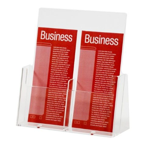 BROCHURE HOLDER DL 1 TIER 2 COMPARTMENTS ACROSS  FREE STANDING