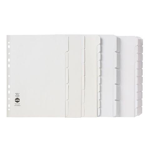 DIVIDER 10 TAB WHITE A4 MANILLA