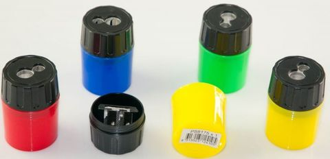 OSMER 2 HOLE METAL SHARPENER WITH PLASTIC DRUM
