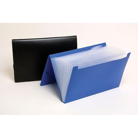 12 POCKET BLUE EXPANDING FILE FOOLSCAP PP  MARBIG-CQS9 - 9312311906119