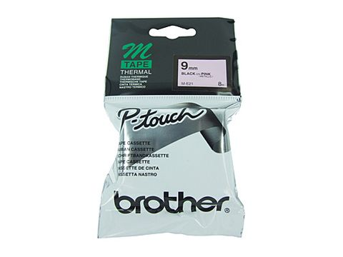 DYN-ME21 ME21 BROTHER 9MM METALIC BLACK ON PINK LABELLING TAPE- CQS15