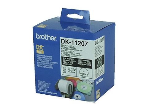 DYN-DK11207 BROTHER DK11207 WHITE LABEL - CD/DVD FILM LABEL - 100 PER ROLL - CQS15