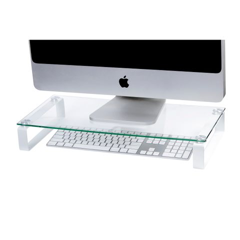ESSELTE MOULDED MONITOR STAND GLASS 60CM WHITE LEGS-cqs12 - 9310924026286