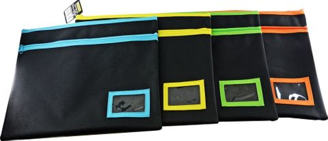 OSMER POLYESTER PENCIL CASE -  2 ZIP 350X180MM ASSORTED COLOURS