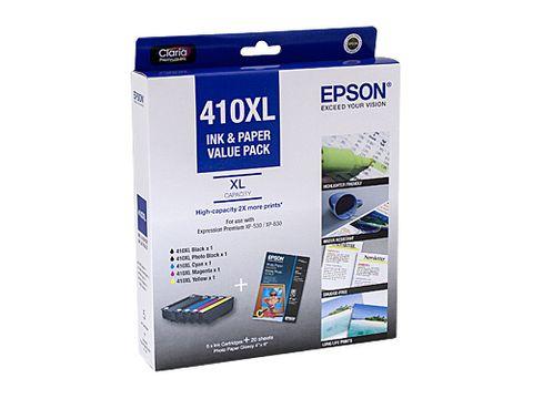 """DYN-C13T339796 EPSON 410XL INK VALUE PACK (BXL PBXL CXL MXL YXL & 20 SHEETS PHOTO PAPER GLOSSY 4"""" X 6"""") - CQS1"""