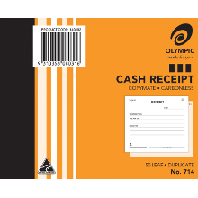 OLYMPIC #714 CARBONLESS BOOK CASH RECEIPT BOOK 50LF 125X200