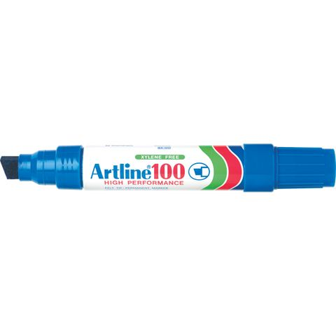 ARTLINE 100 BLUE PERMANENT MARKER 12MM CHISEL NIB