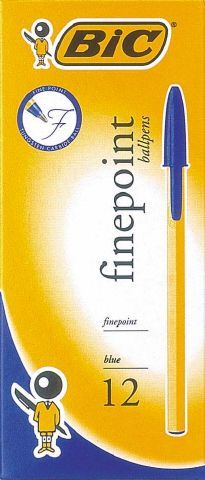 BIC FINEPOINT BALLPOINT PEN FINE BLUE EACH