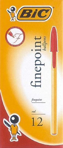 BIC FINEPOINT BALLPOINT PEN FINE RED EACH