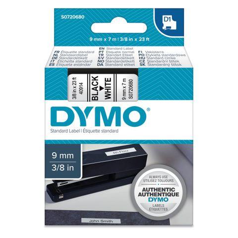 DYMO D1 9MMX7M BLACK/WHITE LETTERING TAPE