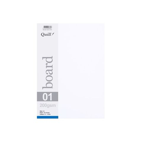 QUILL BOARD WHITE 200GSM A4 PK100