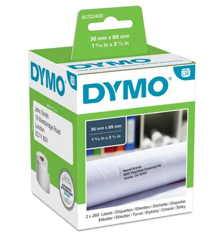 DYMO 99012 LABELS PAPER 89X36MM  2 ROLLS/BOX