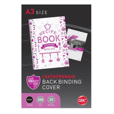 BINDING COVER A3 BLACK LEATHERGRAIN PK25 LANDSCAPE