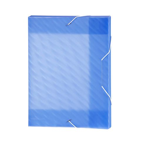 MARBIG BOX FILE PP SHIMMER W/ELASTIC BLUE -