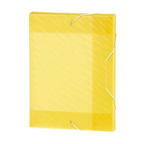 MARBIG BOX FILE PP SHIMMER W/ELASTIC YEL -