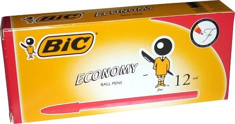 BIC ECONOMY BALLPOINT PEN FINE RED EACH