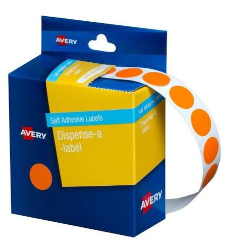 AVERY 14MM CIRCULAR LABEL ORANGE DISP BX 1050