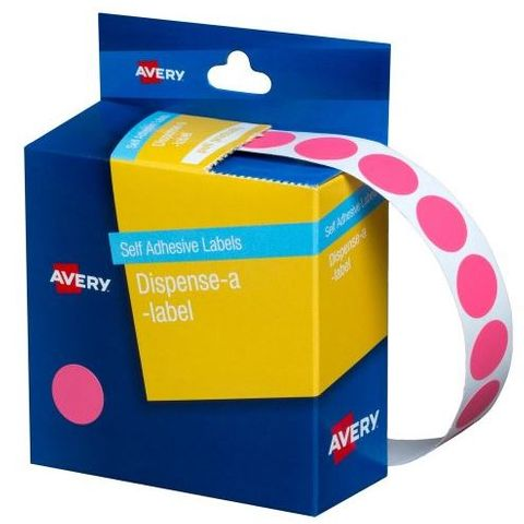 14MM CIRCULAR LABEL PINK DISP BX 1050