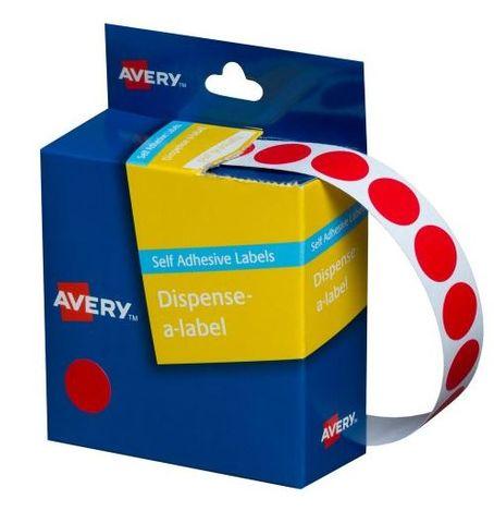14MM CIRCULAR LABEL RED DISP BOX 1050