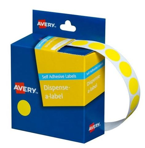 14MM CIRCULAR LABEL YELLOW DIS BOX 1050