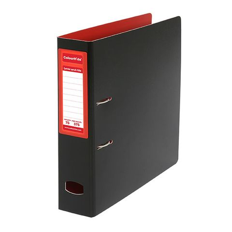 COLOURHIDE A4 RED / BLACK LEVER ARCH FILE