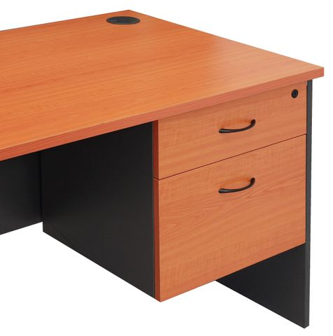 FIXED UNDER DESK PEDESTAL - 1 PERSONAL DRAWER + 1 FILE DRAWER CHERRY/IRONSTONE