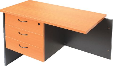 FIXED UNDER DESK PEDESTAL - 3 PERSONAL DRAWERS  BEECH/IRONSTONE